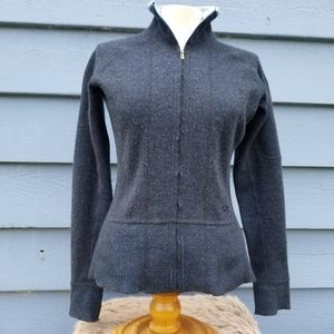 Wool-blend full-zip sweater or light jacket